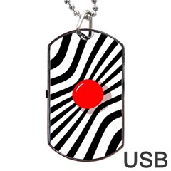 Abstract red ball Dog Tag USB Flash (One Side) by Valentinaart