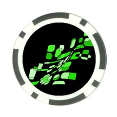 Green Decorative Abstraction Poker Chip Card Guards (10 Pack)  by Valentinaart