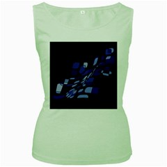 Blue Abstraction Women s Green Tank Top by Valentinaart