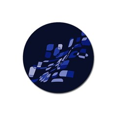 Blue Abstraction Magnet 3  (round) by Valentinaart