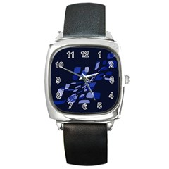 Blue Abstraction Square Metal Watch by Valentinaart