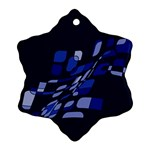 Blue abstraction Snowflake Ornament (2-Side) Back