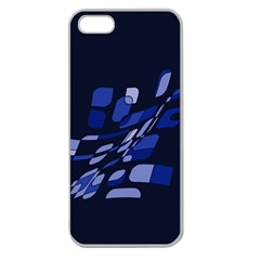 Blue Abstraction Apple Seamless Iphone 5 Case (clear) by Valentinaart