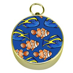 Blue Tang And Clownfish Tropical Ocean  Gold Compasses by BubbSnugg