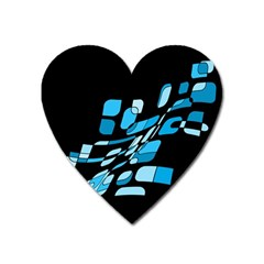 Blue Abstraction Heart Magnet by Valentinaart