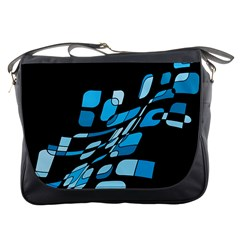Blue Abstraction Messenger Bags by Valentinaart