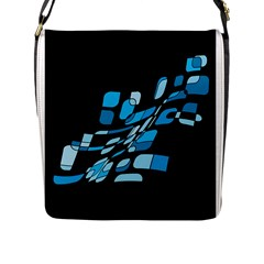 Blue Abstraction Flap Messenger Bag (l)  by Valentinaart