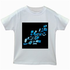 Blue Abstraction Kids White T Shirts by Valentinaart