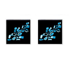 Blue Abstraction Cufflinks (square) by Valentinaart