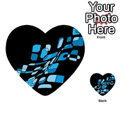 Blue Abstraction Multi Purpose Cards (heart)