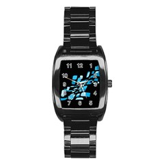 Blue Abstraction Stainless Steel Barrel Watch by Valentinaart