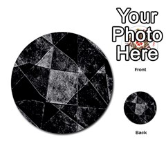 Dark Geometric Grunge Pattern Print Multi Purpose Cards (round)