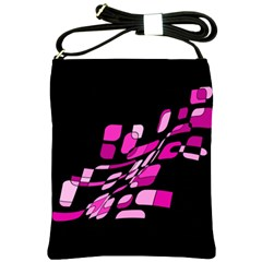 Purple Abstraction Shoulder Sling Bags by Valentinaart