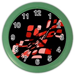 Orange Abstraction Color Wall Clocks by Valentinaart
