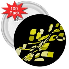 Yellow Abstraction 3  Buttons (100 Pack)  by Valentinaart