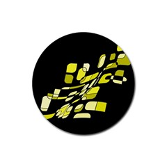 Yellow Abstraction Rubber Round Coaster (4 Pack)  by Valentinaart
