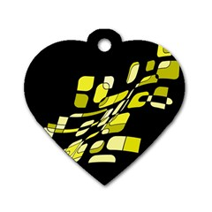 Yellow Abstraction Dog Tag Heart (one Side) by Valentinaart