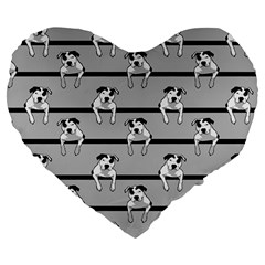 Pit Bull T Bone Large 19  Premium Flano Heart Shape Cushion by ButThePitBull