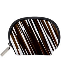 Black Brown And White Camo Streaks Accessory Pouches (small)  by TRENDYcouture