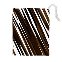 Black Brown And White Camo Streaks Drawstring Pouches (extra Large) by TRENDYcouture