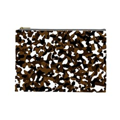 Black Brown And White Camo Streaks Cosmetic Bag (large)  by TRENDYcouture