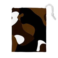 Black Brown And White Abstract 3 Drawstring Pouches (extra Large) by TRENDYcouture