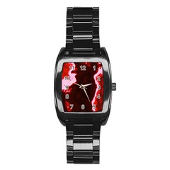 Crimson Sky Stainless Steel Barrel Watch by TRENDYcouture