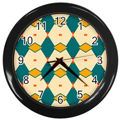 Blue Yellow Rhombus Pattern                                                                                 			wall Clock (black) by LalyLauraFLM