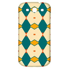 Blue Yellow Rhombus Pattern                                                                                 			samsung Galaxy S3 S Iii Classic Hardshell Back Case by LalyLauraFLM