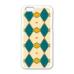 Blue Yellow Rhombus Pattern                                                                                 apple Iphone 6/6s White Enamel Case by LalyLauraFLM