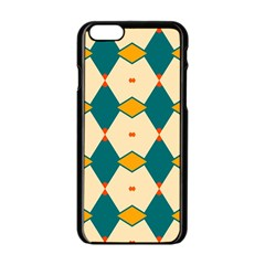 Blue Yellow Rhombus Pattern                                                                                 			apple Iphone 6/6s Black Enamel Case by LalyLauraFLM