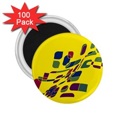 Yellow Abstraction 2 25  Magnets (100 Pack)  by Valentinaart