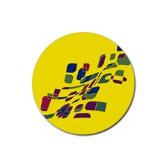 Yellow Abstraction Rubber Coaster (round)  by Valentinaart