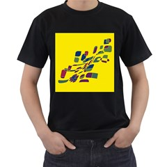 Yellow Abstraction Men s T Shirt (black) (two Sided) by Valentinaart