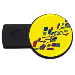 Yellow Abstraction Usb Flash Drive Round (4 Gb)  by Valentinaart