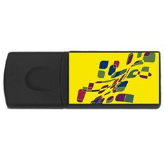 Yellow Abstraction Usb Flash Drive Rectangular (4 Gb)  by Valentinaart