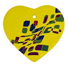 Yellow Abstraction Heart Ornament (2 Sides) by Valentinaart