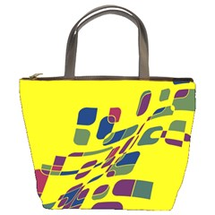 Yellow abstraction Bucket Bags by Valentinaart