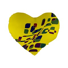 Yellow Abstraction Standard 16  Premium Heart Shape Cushions by Valentinaart