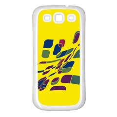Yellow Abstraction Samsung Galaxy S3 Back Case (white) by Valentinaart