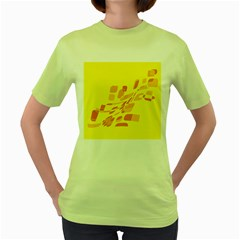 Yellow abstraction Women s Green T-Shirt by Valentinaart