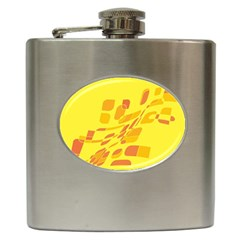 Yellow Abstraction Hip Flask (6 Oz) by Valentinaart