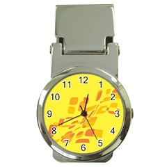 Yellow Abstraction Money Clip Watches by Valentinaart