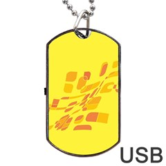Yellow Abstraction Dog Tag Usb Flash (one Side) by Valentinaart