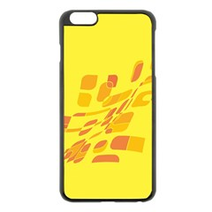 Yellow Abstraction Apple Iphone 6 Plus/6s Plus Black Enamel Case by Valentinaart