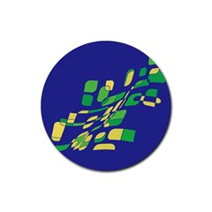 Blue abstraction Rubber Round Coaster (4 pack)  by Valentinaart