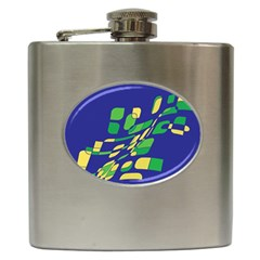 Blue Abstraction Hip Flask (6 Oz) by Valentinaart