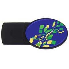 Blue Abstraction Usb Flash Drive Oval (4 Gb)  by Valentinaart