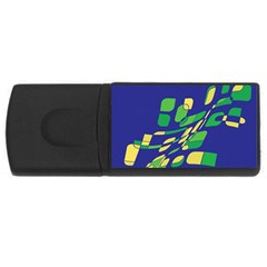 Blue Abstraction Usb Flash Drive Rectangular (4 Gb)  by Valentinaart