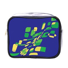 Blue Abstraction Mini Toiletries Bags by Valentinaart